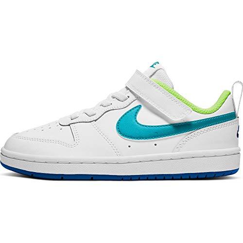 Nike Court Borough Low 2 (PSV), Zapatillas de bsquetbol, White Hyper Blue Ghost Green Oracle Aqua, 27.5 EU