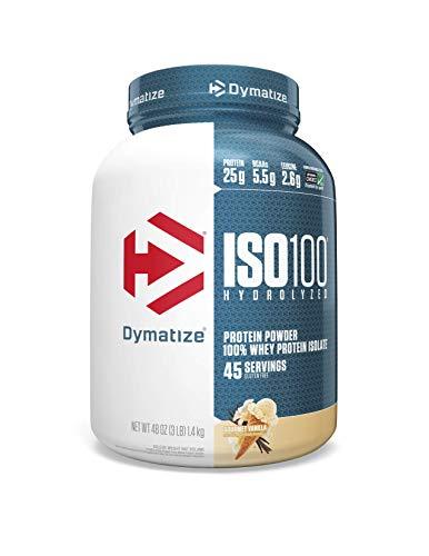 Dymatize ISO 100 Whey Protein Powder with 25g of Hydrolyzed 100% Whey Isolate, Gluten Free, Fast Digesting, Gourmet, 3 Pound, Vanilla , 48 Oz