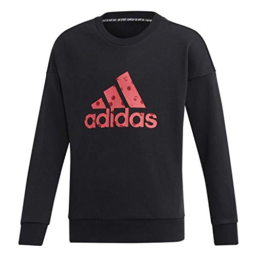 adidas Yg Mh Bos Crew Sweatshirt, Unisex, Kinder, Schwarz/Pink, 152