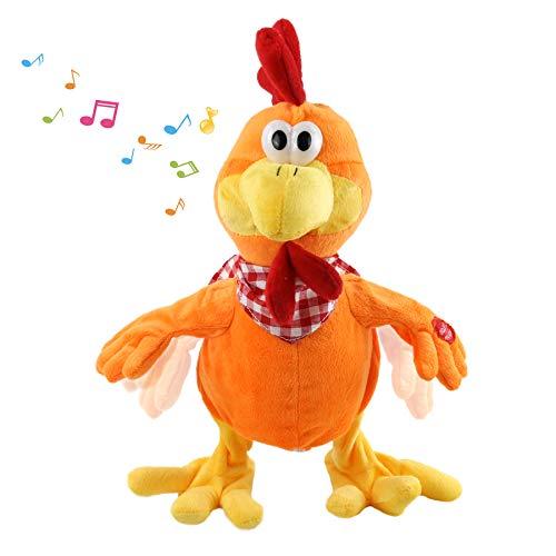 Houwsbaby Squawking Chicken Musical Stuffed Animal with a bib Walking Singing Waving Rooster Electronic Interactive Plush Toy Gift for Kids Boys Girls Birthday, 15'' (Orange)