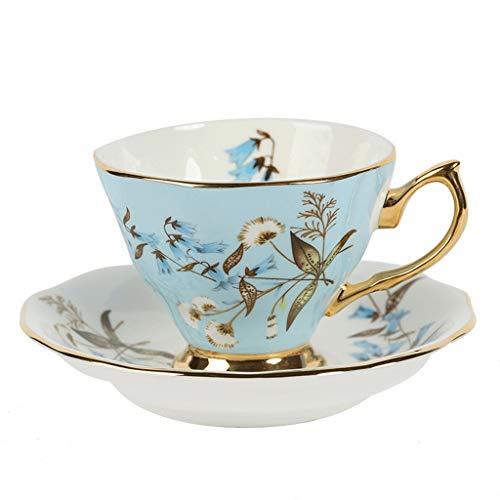 Tazas British Hora del té juego de té Royal Garden Serie Bone China flor taza de té de la taza de café Europea exquisito Ins viento de café de cerámica Juego de tazas Tazas de Café ( Color : F )