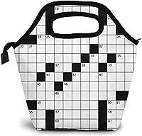 ワードグリッドの空白の新聞スタイルのクロスワードパズル番号ポリエステルランチバッグ断熱された再利用可能なランチボックスポータブルランチトートバッグミールバッグ男の子女の子女性のためのアイスパック