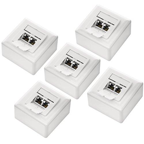 deleyCON 5X CAT 6 Universal Netzwerkdose - 2X RJ45 Port - Geschirmt - Aufputz oder Unterputz - 1 Gigabit Ethernet Netzwerk - EIA/TIA 568A&B - Weiß