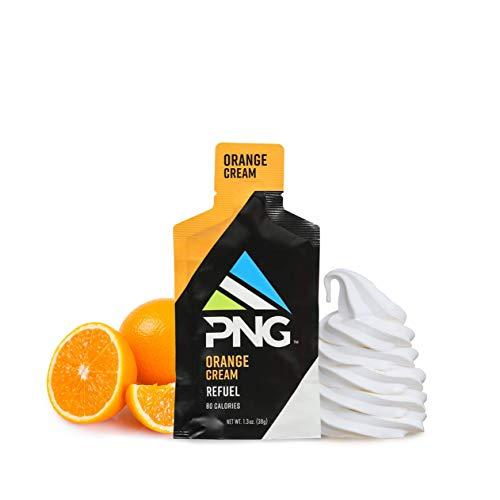 PNG Sports Refuel Energy Gel Pack - Endurance Energy Gels, Isotonic, Energy Nutrition Gel with Electrolytes, No Caffeine - Orange, 24 Pack