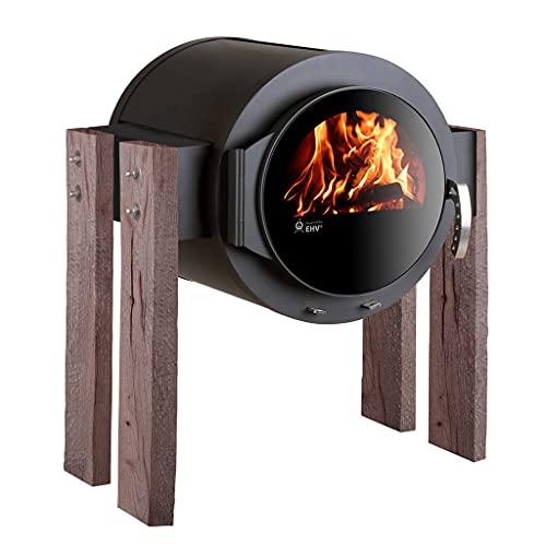 Kaminofen Kanuk® Stand Wood Eiche rustikal Holzofen - Werkstattofen - Energieeffizienzklasse A+ - Top Qualität - Zulassung für Deutschland, Österreich und Schweiz - BimSchV