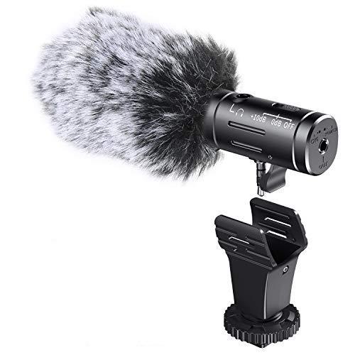 Emiral Kamera Mikrofon Mini Shotgun VideoMic fur Aufnahme mit Aluminiumgehause Echtzeituberwachung fur Canon Sony Nikon DSLR Kamera Smartphone iPhone und Android Nicht fur Canon T5i T6