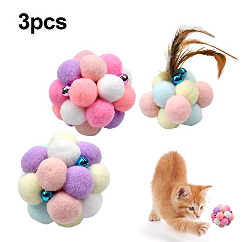Fodlon Bunte Katze Ball, 3 Stücke Katze Feder Spielzeug Ball Bunte Handgemachte Glocken Ball Bouncy Ball Katze Interaktive Spielzeug Teaser Spielzeug Heimtierbedarf für Katze Hund Spielen
