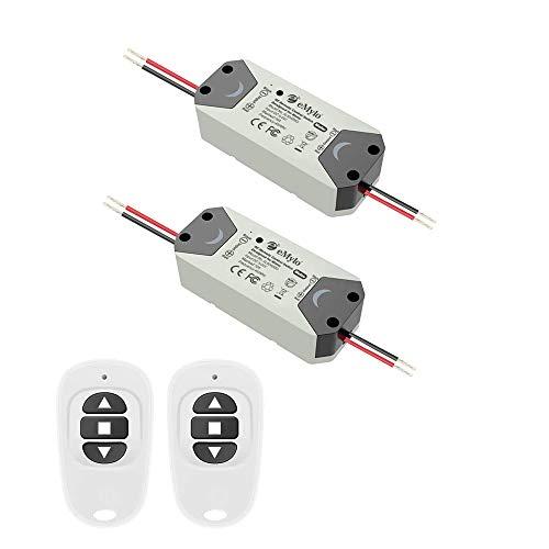 eMylo Smart Wireless RF Motor Controller Switch relè RF DC 12V Motore Interruttore di comando a distanza 5-24V per rotolamento/tende elettriche/pompa acqua Motore di controllo avanti/indietro 2 pacchi