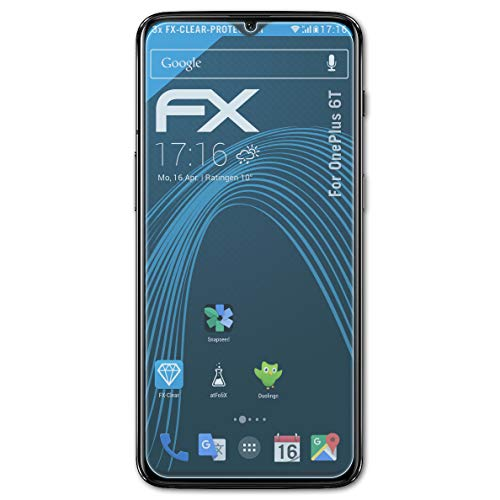 atFolix Schutzfolie kompatibel mit OnePlus 6T Folie, ultraklare FX Bildschirmschutzfolie (3X)