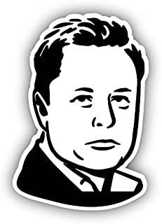Elon Musk Vinyl Decal Sticker Cartoon Caricature Funny Face Tesla Spacex