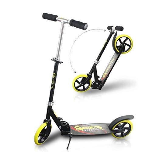 GTYMFH Scooter de pie Adolescente Fácil portátil Plegable de Carbono Diseño de Freno Suave con Correa for el Hombro Freno de Mano no eléctricos Fácil Plegable Espacio Saave Scooter de Ciudad