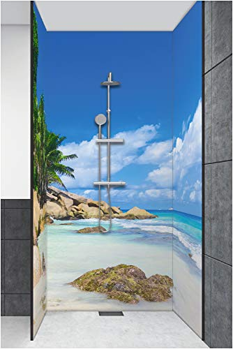 Artland Duschrückwand Eck mit Motiv Fliesenersatz Alu Rückwand Dusche Duschwand Bad 3 Segmente Wunschmaß Strand Palme Meer Karibik Malediven R2PV