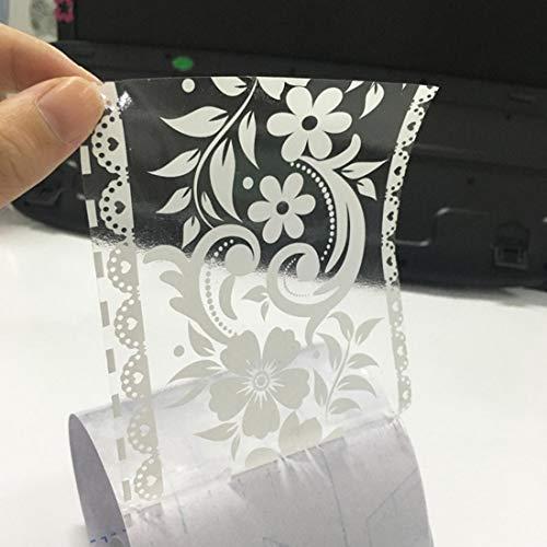 HBOS Création Selbstklebende Bordüre Weiße Transparent Blumen Tapete Bordüren Aufkleber Entfernbare Grenzabziehbild Dekoration für...
