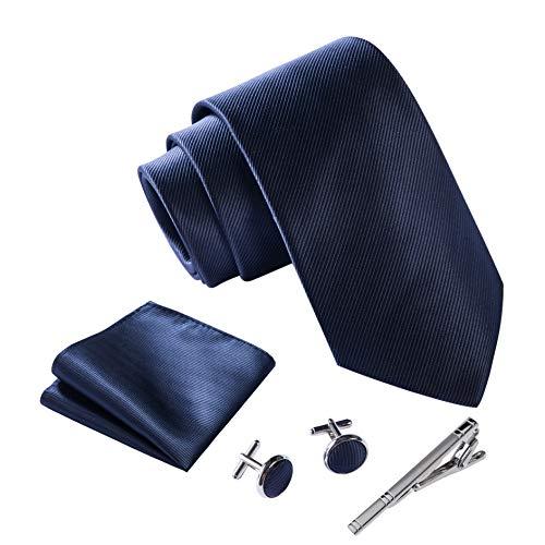 Massi Morino ® Set Cravate Homme (avec Mouchoir + Boutons de Manchette + épingle à Cravate) avec Coffret Cadeau (Bleu foncé)