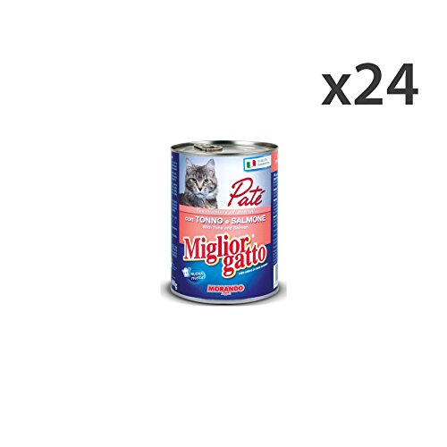 MIGLIOR GATTO Set 24 400 Gr. Thon Humide Pate Saumon Aliments Pour Chats