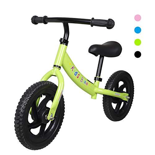 H.yeed 12' Balance Bike for 2-6 Year Old Boys Girls, Toddler Training Bicycle with Adjustable Handlebar/Seat, Lightweight Carbon Steel No Pedal Walking Balance Bike for Age 2 3 4 5 6 Kids