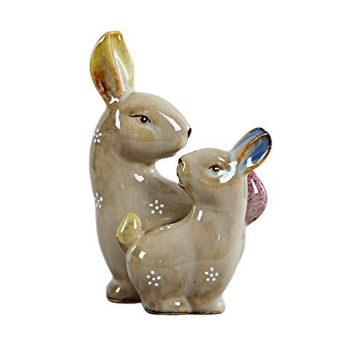 LFDHSF Rabbit Figurine Ceramic Animal Figurines Easter Tabletop Desktop Ornament Home Office Cafe Festival Party Decoration