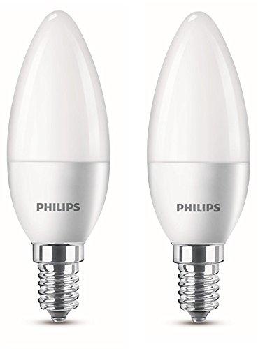 Philips 8718696475201 Lot de 2 Ampoules LED Flamme E14 2700 K Plastique Blanc Chaud 10,4 x 5,8 4 W