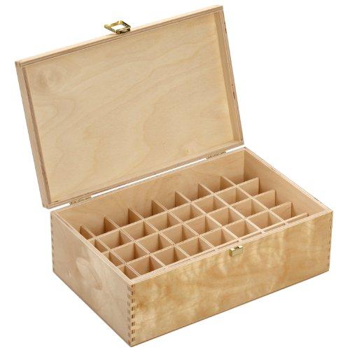 Holzbox aus hellem Birkenholz - für 40 Flaschen (20 ml) - Maße: 288 x 183 x 107 mm (BxTxH) - Lochdurchmesser: 31.5 mm, eckig *** Bachblütenbox, Aufbewahrung, Bachblüten, Essenzen, Flaschen, Apothekerflaschen, Tropferflaschen, Geschenk, Geschenkidee, Holzartikel ***