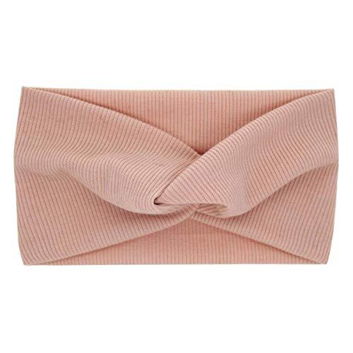 N/A Lindo Color sólido Turbante para bebé niñas algodón Lino Anudado Diadema elástica Diadema niños Tocado Accesorios para el Cabello Rosa