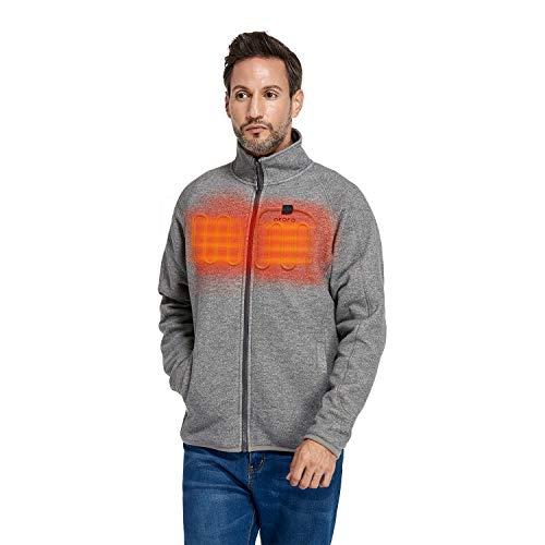 ORORO Men's Heated Fleece Jacket Full Zip with Battery Pack (Grey, XL)