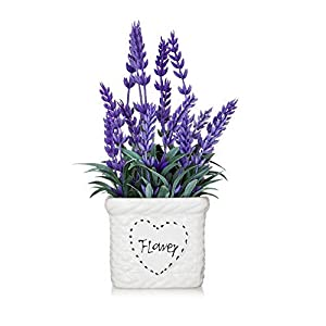 YAPA Lavender Flowers Artificial Plants with White Vase – Potted Purple Fake Flower for Farmhose Table Decor
