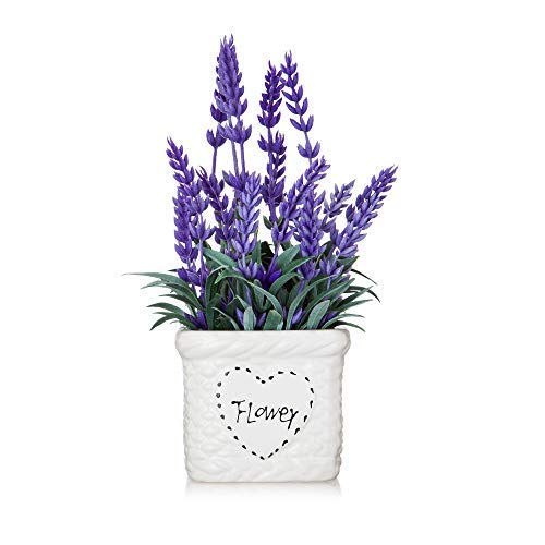 Potted Lavender Flowers -Small Artificial Plants - Fake Purple Flower with White Ceramic Vase for Home, Party & Wedding Décor