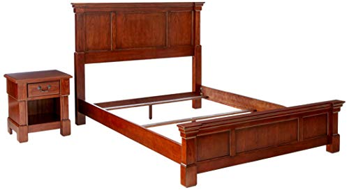 Home Styles Aspen Rustic Cherry Finish Queen Bed Set with Frame Moldings and Carved Posts, Matching Nightstand Crafted from Mahogany Solids
