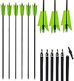 12pcs 30 Inch Archery Mix Carbon Spine 400 Flu Flu Arrows Replaceable Screw-in