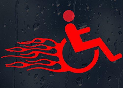 Komisch Brennender Rollstuhl Vinyl Aufkleber (Länge 20cm)