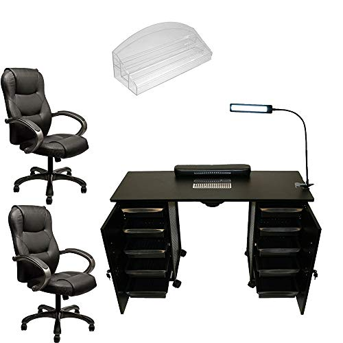 COMPLETE Deluxe Manicure Station Vented Table, Nail Polish Rack, Ergonomic Office Chair