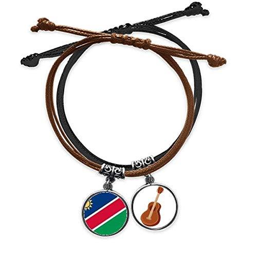DIYthinker Namibia Bandera Nacional Ãfrica país Pulsera Cuerda Mano Cadena Cuero Guitarra Pulsera