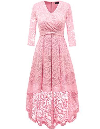 DRESSTELLS Damen elegant Hi-Lo Cocktailkleid Unregelmässig Spitzenkleid Vokuhila Kleid mit V-Ausschnitt Festlich Party Ballkleid Pink M
