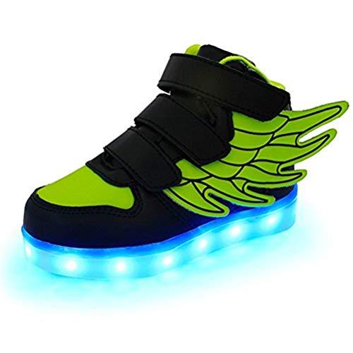 Kids'LED Mode Schuhe Light up Turnschuh-Trainer mit Flügeln 7 Farben Blinklicht für Jungen-Mädchen-Geschenk-Hoch-Spitze Turnschuhe USB-Gebühr,Blackandgreen,31