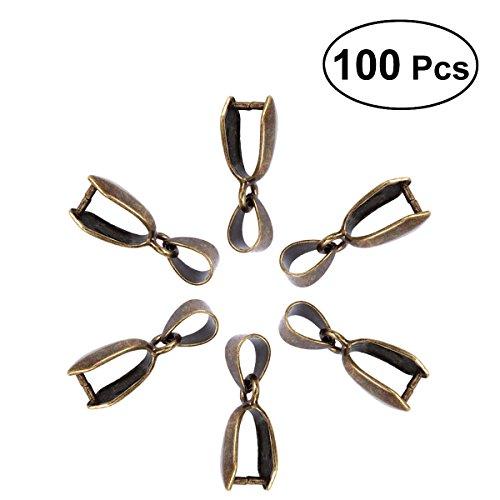 ULTNICE 100 pcs Métal Pincez Fermoir Bélière Collier Pendentif Perle connecteur fermoirs pour bijoux accessoire 16 mm