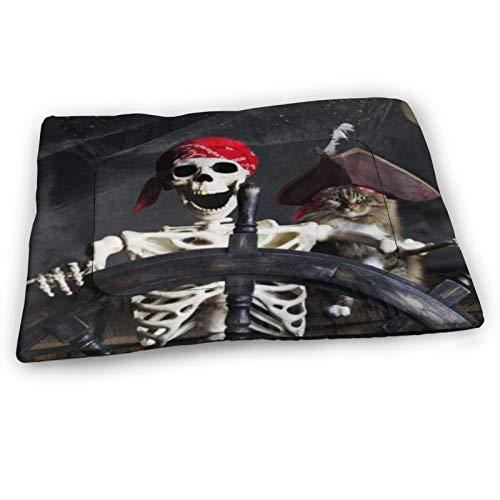 "Custom Dog Bed Mat,Funny Cat Pirate Ship Horror Cat Night Moon Nautical,Anti-Slip Bottom Washable Soft Crate Pad Mat for Pets Sleeping 23""x15.5"""
