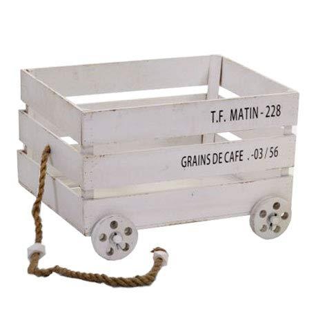 Vacchetti S.p.A - Caja de Madera Blanca con Ruedas, 60 x 41 x 39 cm: Vacchetti S.p.A: Amazon.es: Hogar