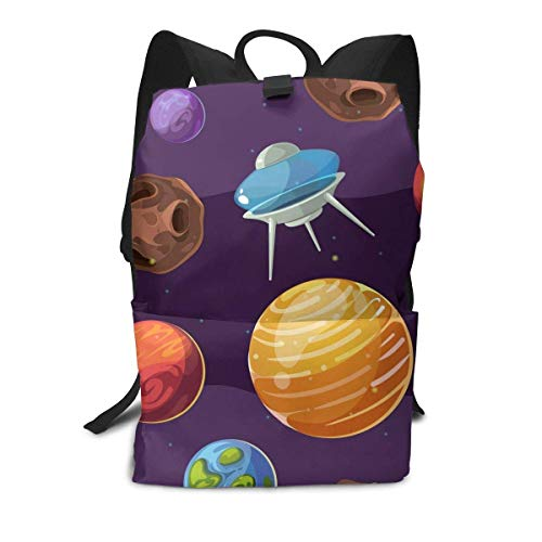 Homebe UFO Cute Art Starry Sky Earth Rucksäcke,Daypack,Schulrucksack Für Jungen und Mädchen Travel Hiking Small Gym Teen Little Girls Youth Boy Women Men Kids Backpack Mini Book Back Bag Bookbag