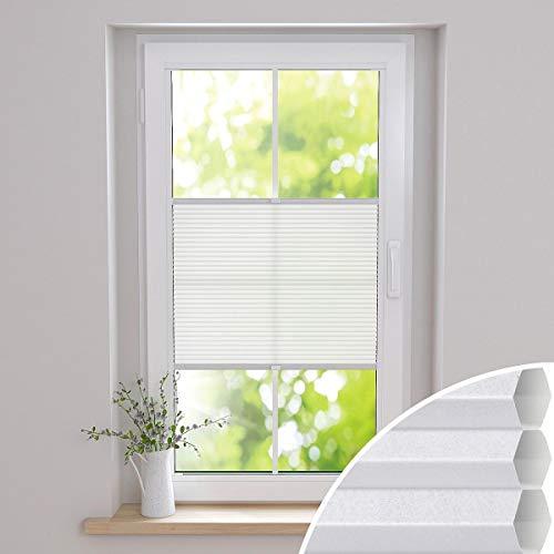 Gardinen21 Duette Klemmfix Wabenplissee ohne Bohren | Waben Plissee im Wunschmaß | Maßgefertigt für Türen & Fenster | Lichtdurchlässig, Sichtschutz und Schallschutz