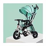 JIEJIE Triciclos Tricycle Trike Cochecito de bebé bebés y niños pequeños Triciclo Bicicleta Doble rotación Asiento Baby Trolley Baby Carro (Color: Pink) (Color: Verde) (Color : Green)