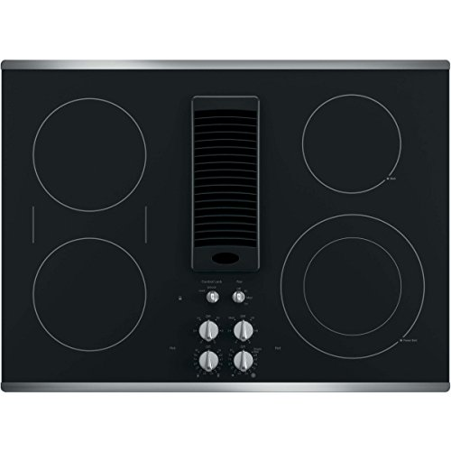 "GE Profile Series 30"" Downdraft Electric Cooktop Black Glass with Stainless Steel Trim PP9830SJSS"
