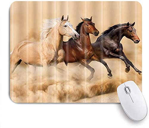 ZOMOY Gaming Mouse Pad Horses Running on The Farm Autumn Theme 9.5'x7.9' Nonslip Rubber Backing Mousepad for Notebooks Computers Mouse Mats