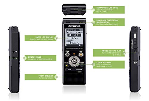 Olympus WS-853 High-Quality Digital Voice Recorder with Built-In Stereo Microphones, Direct USB, Voice Balancer, Noise Cancel, Simple Mode, Low- Cut Filter, Intelligent Auto Mode & 8 GB Memory