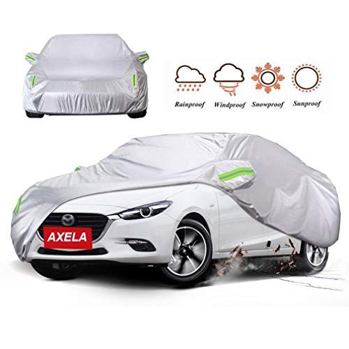 Funda Coche Compatible con Mazda 3 Axela Cubierta del coche impermeable Sedan coche lona de las cubiertas completas a prueba de polvo respirable a prueba de viento de Sunproof con bolsa almacenamiento