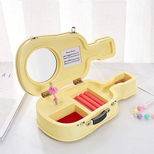 Gitarren-Form-Spieluhr for Mädchen Ballerina-Spieluhr mit Griff Kindern Schmuckschatullen Kunststoff Musikaufbewahrungsbehältern mit runden Spiegeln for kleines Mädchen Geschenke (Color : Yellow)