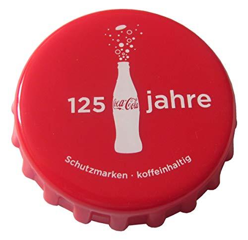 Coca-Cola - 125 Jahre - Flaschenöffner in Kronkorkenform mit Magneten 8 cm