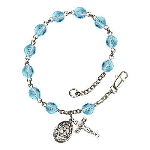 St. Elizabeth Ann Seton Silver Plate Rosary Bracelet 6mm March Light Blue Fire Polished Beads Crucifix Size 5/8 x 1/4 medal