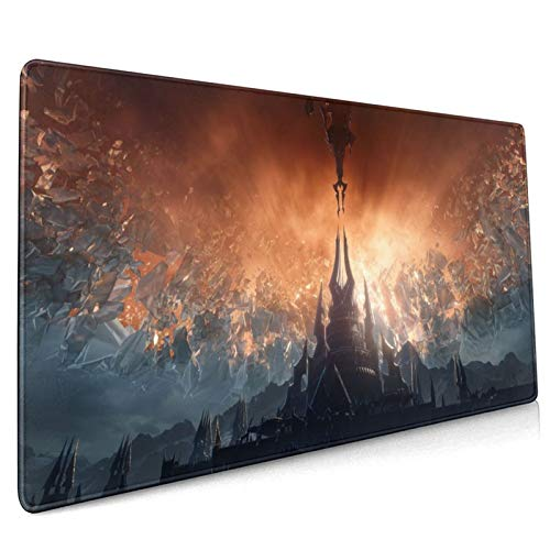 Newbealer Wow Shadow-Lands 9.0 Large Gaming Mouse Pad, Extended Mouse Mat with Stitched Edges and Non-Slip Rubber Base, Desk Pad for Keyboard/ Mouse/ PC/ Laptop, 15.8 x 35.5 in