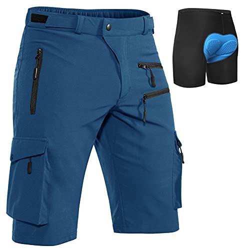 Hiauspor MTB-Hose-Herren-Fahrrad-Shorts-gepolstert-Mountainbike-Shorts (Indigo,M)