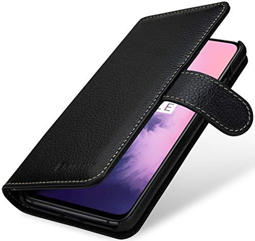 StilGut Hülle geeignet für OnePlus 7 Lederhülle Brieftasche mit Karten-Fächern, schwarz